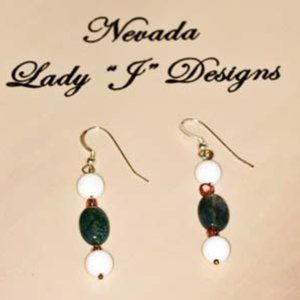 Dangle Earrings Deep Moss Green and White Shell